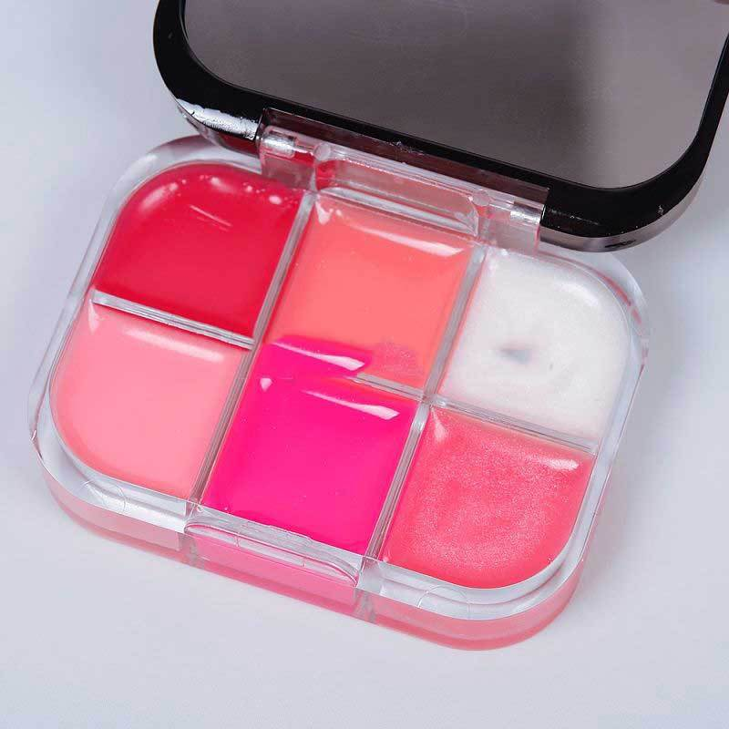 BulkPrice Shop Popular New Arrival Women Girl Makeup 6 Colors Moisture Lipstick Cosmetic Lip Gloss Palette Kit B(China (Mainland))