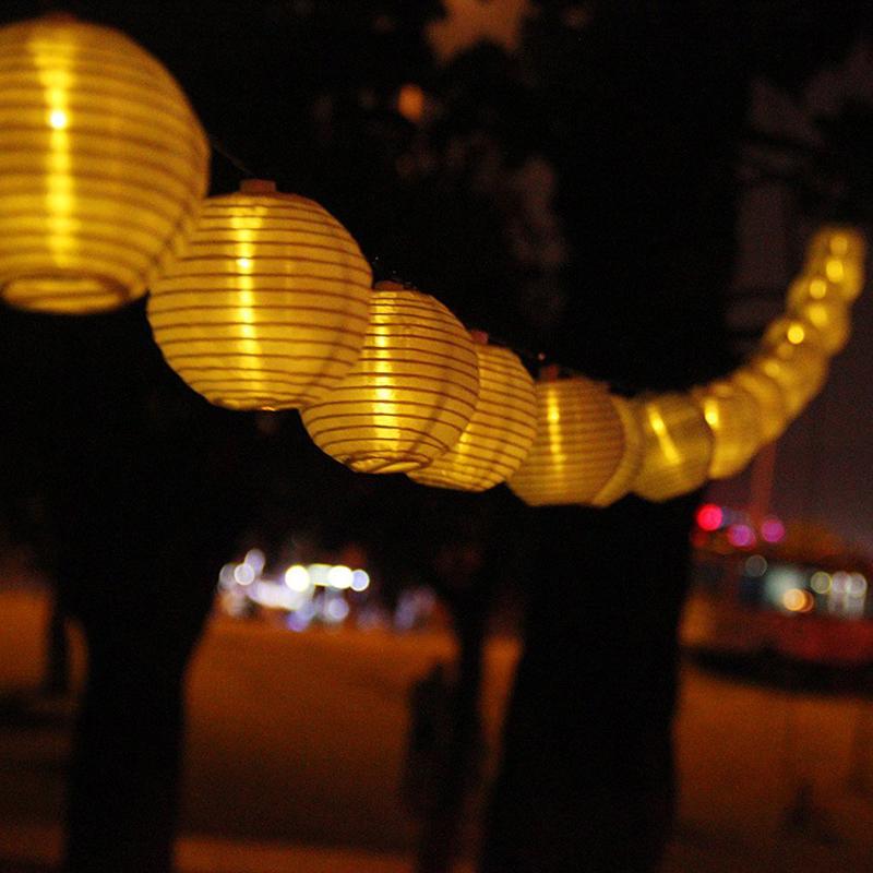 LED Solar Garden Lights 20 Lantern Lighting String Outdoor Lamps Wedding Decoration Lamp Waterproof Nylon Guirlande Lampara IP55(China (Mainland))