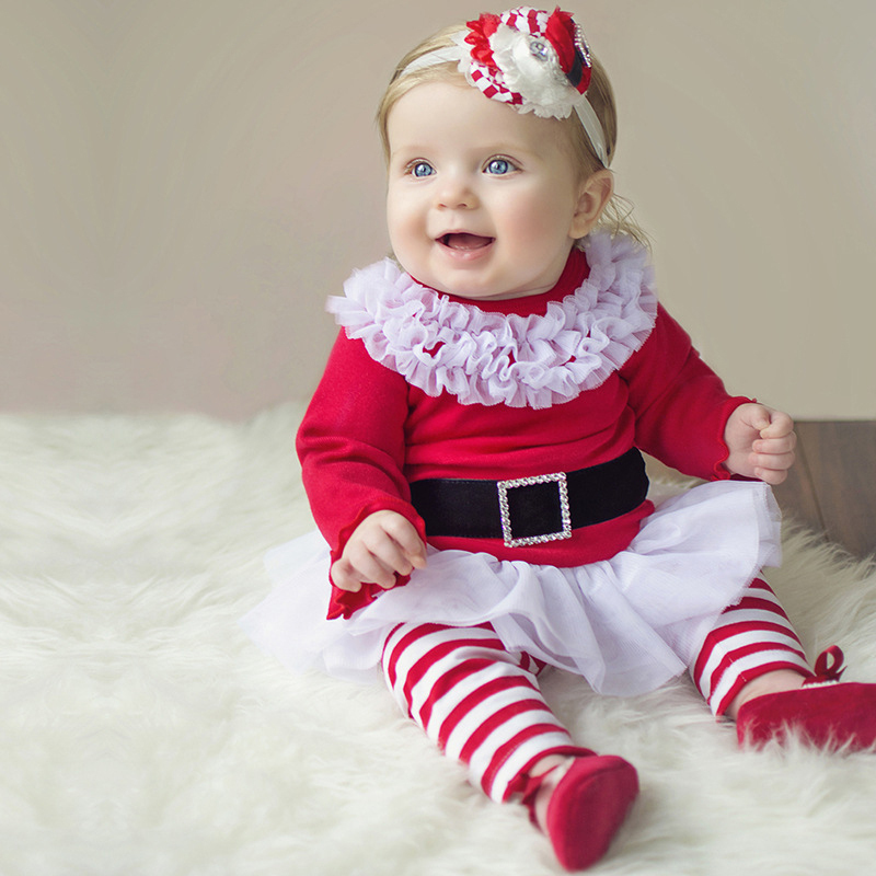 Baby Girls Xmas Outfits Children Christmas Lace and Cotton 2pcs Clothes Sets Solid Red T-shirt & Red White Stripe Pants(China (Mainland))