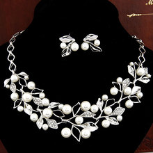 2016 Bohemian Elegant Necklace cherry crystal Earrings Silver Plate Beautiful Imitation Pearl Beads Decoration Jewelry Bride(China (Mainland))