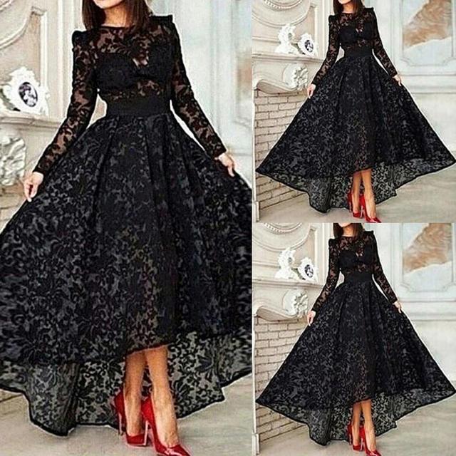 Горячая продажа кружева вечерние платья пром платья вечернее платье асимметричный ...