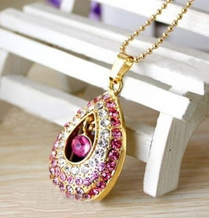 real capacity Jewelry crystal angel tear necklace 8G 16G 32G usb flash drive pen drive memory stick S71 DD(China (Mainland))