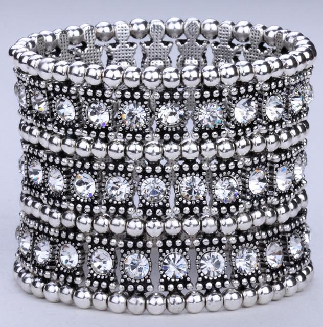 Многослойной стрейч браслет манжета женщины кристалл свадебные мода ювелирных изделий ...