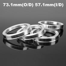 4 Pcs Universal Aluminum Hub Centric Ring Wheel Spacer Set 73.1mm O/D 57.1mm I/D(China (Mainland))