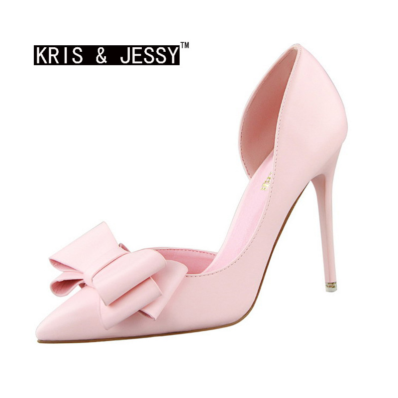 Bowtie Pointed Toe 10cm High Heels Fashion Women Dress Shoes Woman Pumps Party Shoes 7 Colors(China (Mainland))