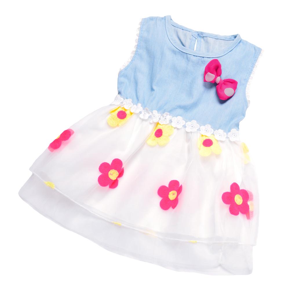 Sweet Girl Sunflower Tank Dress Flower Embroidery Bow Mesh Layered Denim Casual Kids Sundress Vestidos Infantis Children Clothes(China (Mainland))
