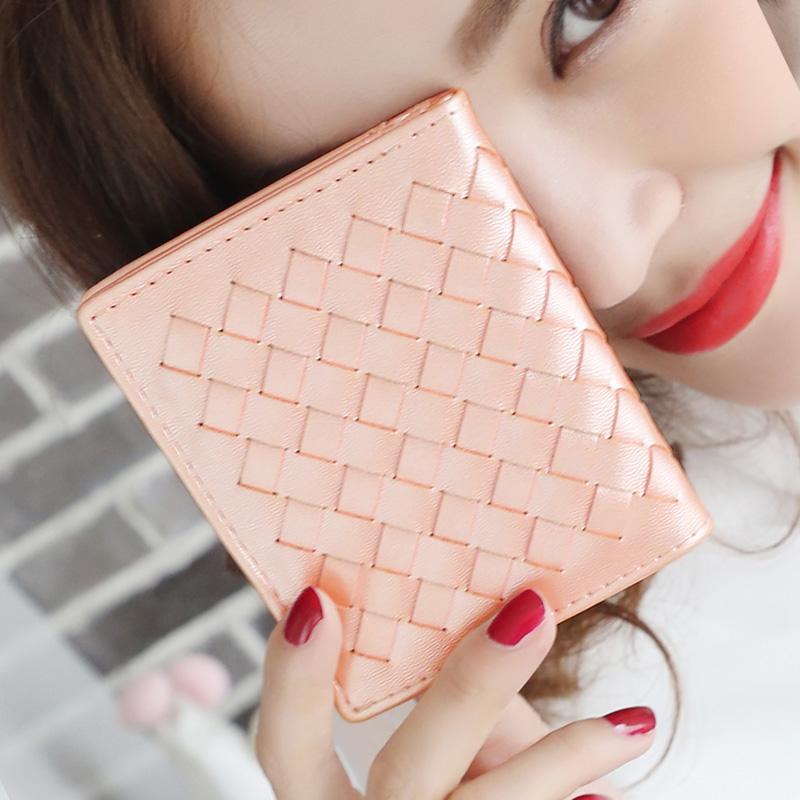 2015 new original fashion glossy summer knitting wallets women fastener short design 2 fold wallet fresh purse freeshipping(China (Mainland))