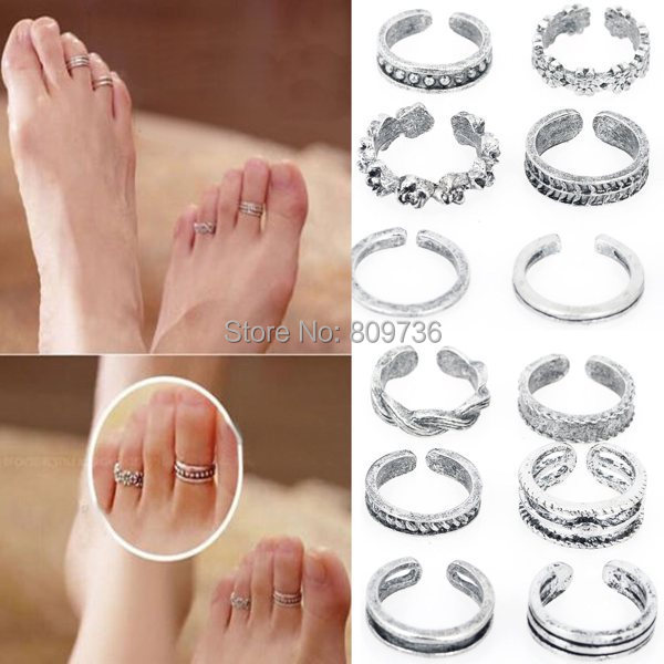 12pcs Wholesale Mix Celebrity Fashion Simple Retro Carved Flower Adjustable Toe Ring Foot Women Jewelry Drop
