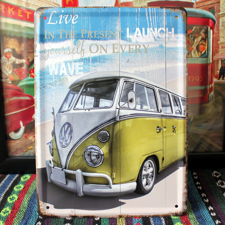"""2015 Vintage wall art decor home decoration """"Bus on beach"""" retro tin signs Metal House bar cafe painting 15*20 CM Free shipping(China (Mainland))"""