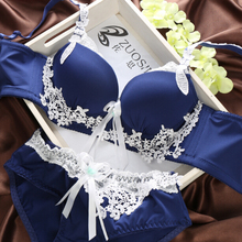 fashion sexy push up bra set deep V bow after adjustment type bra 4 breasted blue green,Wholesale retail underwear set(China (Mainland))