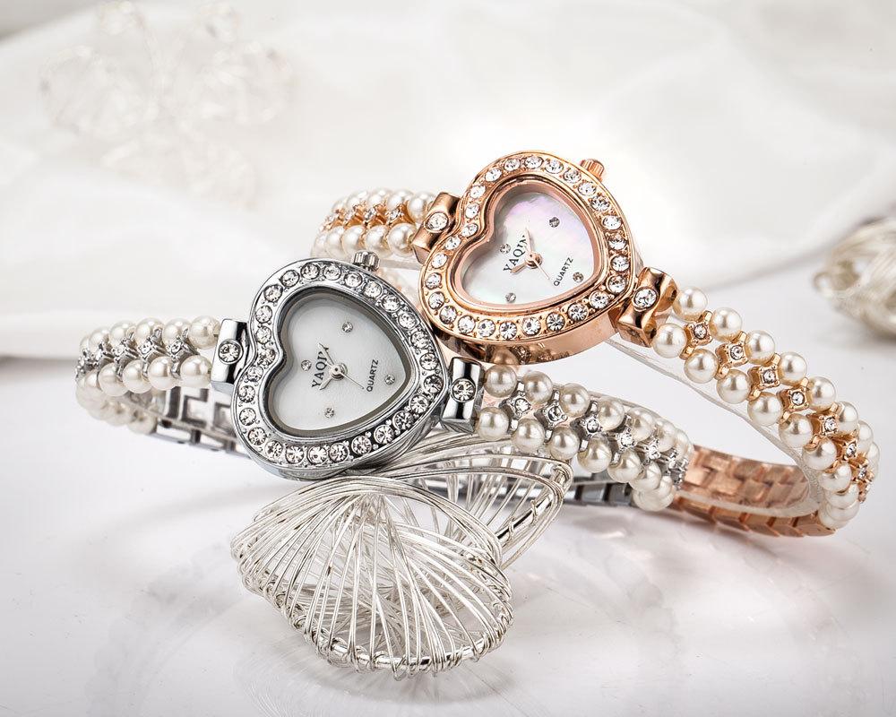 Pearl Bracelet Watches Watch Heart Face Bracelet