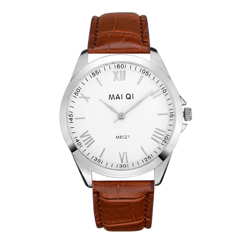 2015 male watch leather strap business watch, minimalist design flour silver dial - HY GEM store