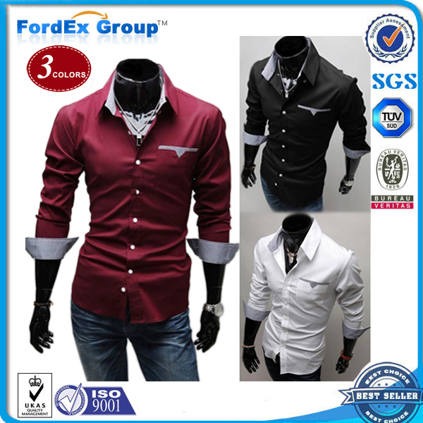 2015 Fashion Boutique Men Suit Shirt Tops Long Sleeve Mens Shirts Casual Fit Stylish Men's dress - Fordex Industrial Group Limited store