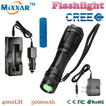 ZK20 e17 CREE XM-L t6 4000 lumens led flashlight torch adjustable LED Flashlight Torch light flashlight torch rechargeable(China (Mainland))