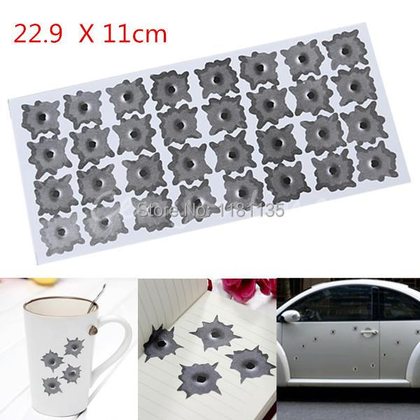 2pcs/lot Car Styling Fake Bullet Holes Realistic Bullet Hole Stickers Funny for Creative Personality Car Stickers Free Shipping(China (Mainland))