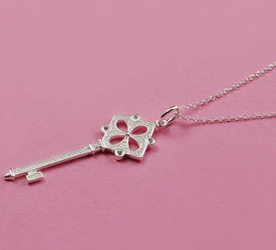 Free & Fast Shipping Brand New Nice Jewelry Square Key Pendent Lady Necklace K03