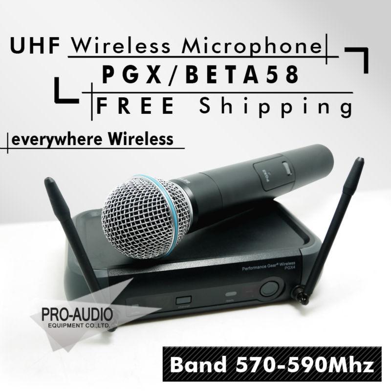 Free Shipping! PGX PGX24 BETA58 UHF Wireless Microphone System Super Cardioid BETA Handheld Microfone For Karaoke Clear Sound!!(China (Mainland))