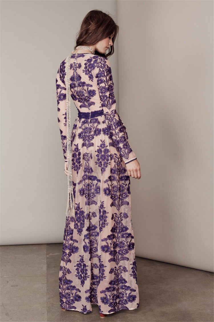 2016 Women's Long Sleeve Deep V Blue Embroidery Gauze For Love and Lemons Long Dress