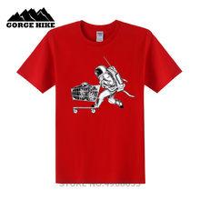 2019 Musim Panas Ruang T-shirt untuk Pria/Anak 3D Tshirt Lucu Cetak Astronot Kapal Planet-Planet dengan Belanja Troli Keranjang Belanja T Shirt(China)