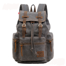 Fashion men women backpacks Casual canvas genuine leather computer backpack school bag for teenagers mochila Camping hiking bag(China (Mainland))