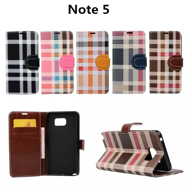 For Samsung galaxy Note 5 wallet case, Generous Stripe Plaid Wallet leather case Stand Card slots Bill site function(China (Mainland))