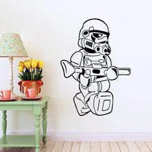 STAR WARS Stormtrooper Darth Vader pegatinas de pared de vinilo de dibujos animados vinilo pegatina de pared para habitación de niños decoración del hogar(China)
