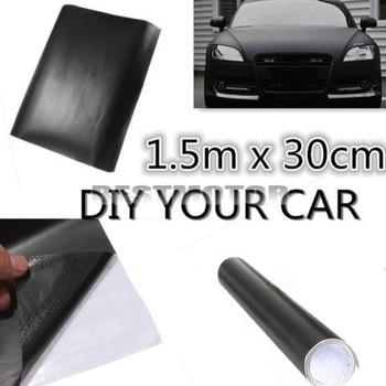 150x30cm Matt Matte Black Car Auto Body Sticker Decal Self Adhesive Wrapping Vinyl Wrap Sheet Film