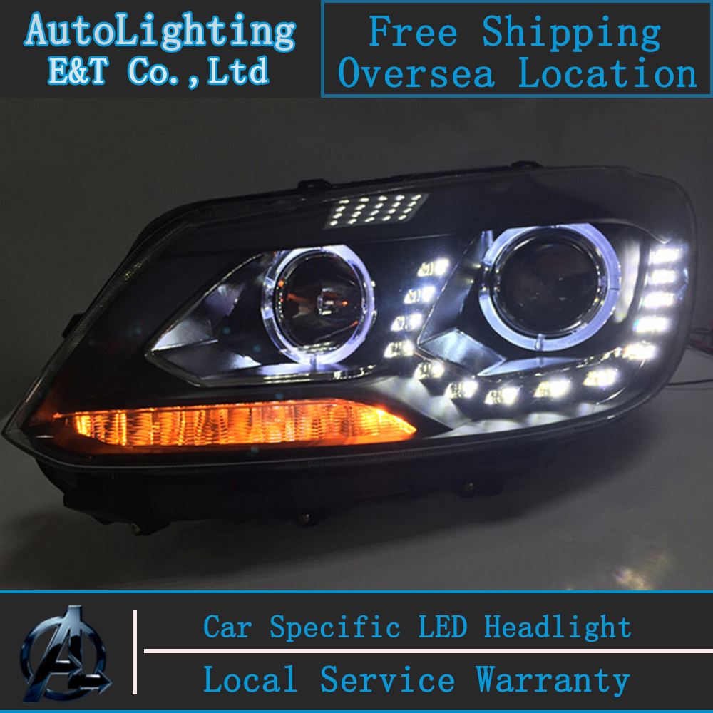 Car Styling VW Touran headlights 2011-2014 Touran led headlight Volks Wagen Touran drl H7 hid Q5 Bi-Xenon Lens low beam(China (Mainland))