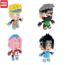 Wisehawk Naruto Toys Anime Cartoon Action Figures Naruto Building Block Sasuke Naruto ABS Material Diamond Blocks Free Shipping