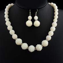 New African Handmade Simulated Pearl Beads Jewelry Set Women Rhinestone Necklace Earrings Mother Party Bridal Wedding Gifts(China (Mainland))