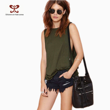 Women's Tops O-Neck Sleeveless Cotton Back Cross Backless Army Green Loose Fashion Casual Sexy Tank Tops Vest Female Summer 489(China (Mainland))