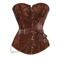 Brown Gothic Vintage Corset Bustier Burlesque Lace up Boned zipper Carnival Cosplay Costume Showgirl Top Shirt
