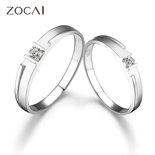 ZOCAI SIMPLE LOVE 0.14 CT CERTIFIED H / SI DIAMOND HIS AND HERS WEDDING BAND RINGS SETS ROUND CUT 18K WHITE GOLD<br><br>Aliexpress