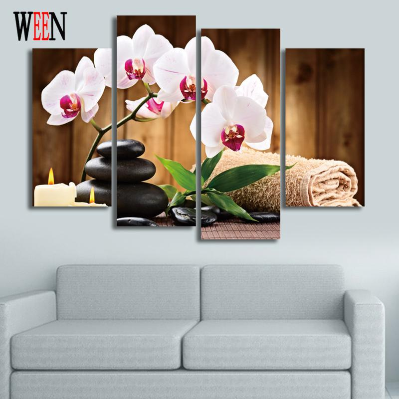 Flower and Stone 4Piece canvas art For Living Room Modern Wall Pictures Poster and Printed Home Decor Hot 2017 Gift(China (Mainland))