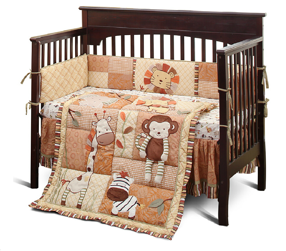 light coffee color embroidery nursery cot bedding set  zoo animal PH244<br><br>Aliexpress