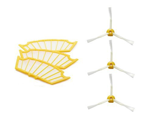3 Filters + 3 Side Brush 3 Armed Vacuum Cleaner Accessory Kit for iRobot Roomba 500 Series 530 540 550 560 570 580 610(China (Mainland))