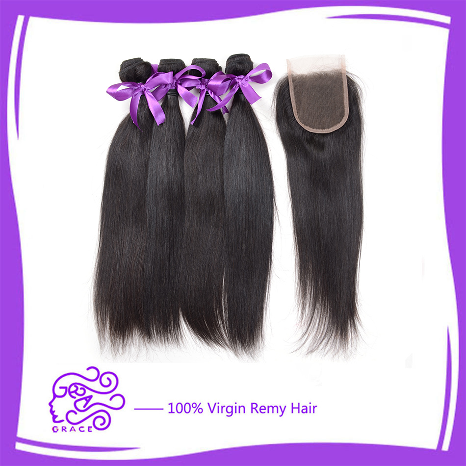 freeship 6A queen hair products virgin Indian straight hair with closure 3/4 bundles no shed lace frontal closure with bundles <br><br>Aliexpress