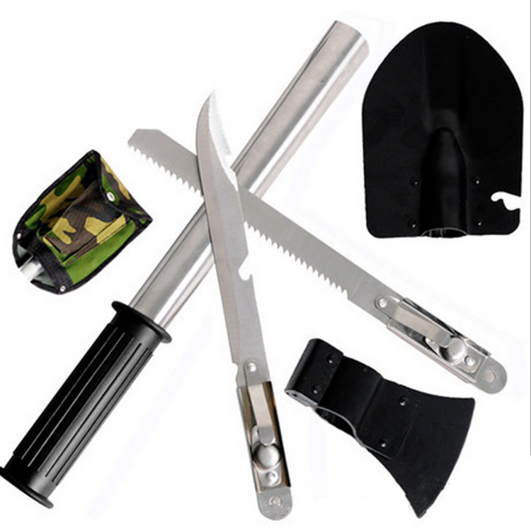 New outdoor camping tools kit/set hiking survival knife tool Multi - Purpose 4-in-One Survival Shovel tool with tainless steel(China (Mainland))