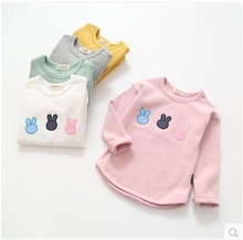 Long Sleeved T-shirt 2016 New Spring Cotton Embroidery Girls Children's baby boy Kid Cartoon Rabbit Shirt Clothing 1603