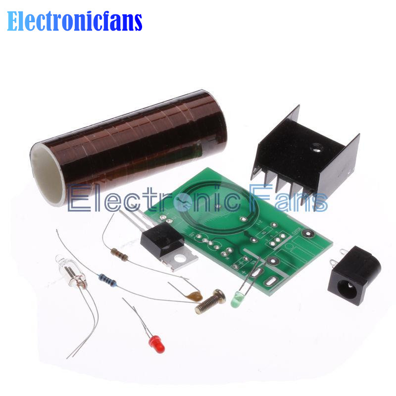 Mini DIY Tesla Coil Kit Arc Wireless Electric Power Transmission Lighting Board Module 12V DC for LED Circuits Suites Learning(China (Mainland))
