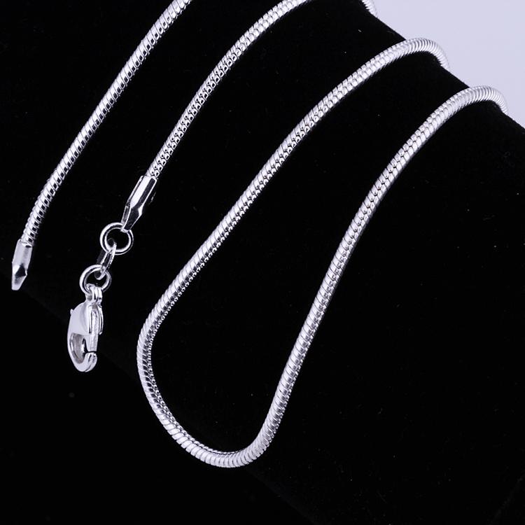 2016 новое поступление мода ювелирных изделий позолоченный серебряный 2 мм змея цепи ожерелье подарок 16