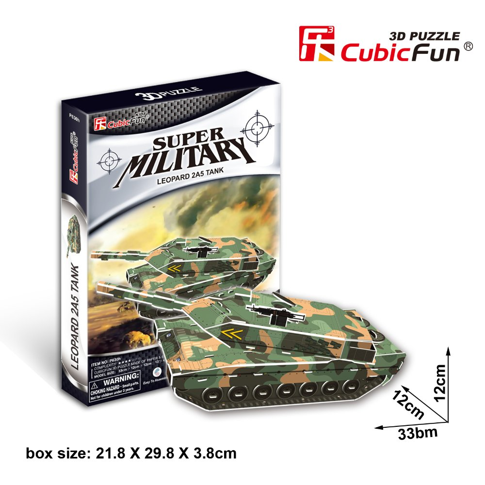 Cubic Fun 3d puzzle paper  jigsaw Leopard 2A5 tank model  diy toys for boys P630H