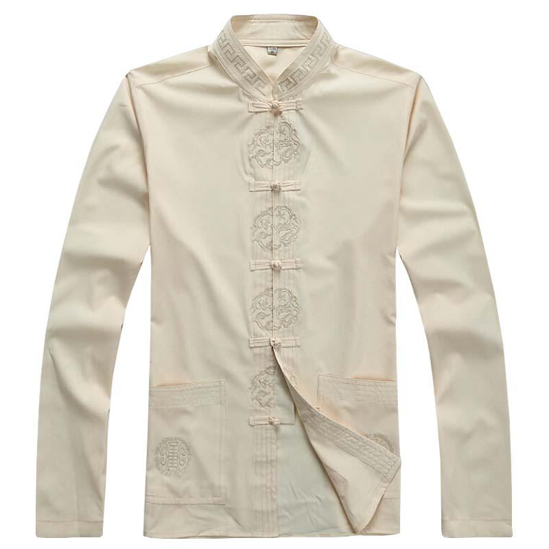 Men's Tang suit kung fu shirt Chinese Style Print Shirts 2016 Summer Slim Design Long Sleeve Cotton Mens Stand Collar Shirts 98(China (Mainland))