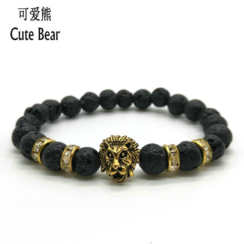 New Antique Gold Lion Head Bracelet Men Charm Bracelet 8mm Matte Stone Volcano Lava Stone turquoise Beads Bracelet Women Jewelry(China (Mainland))