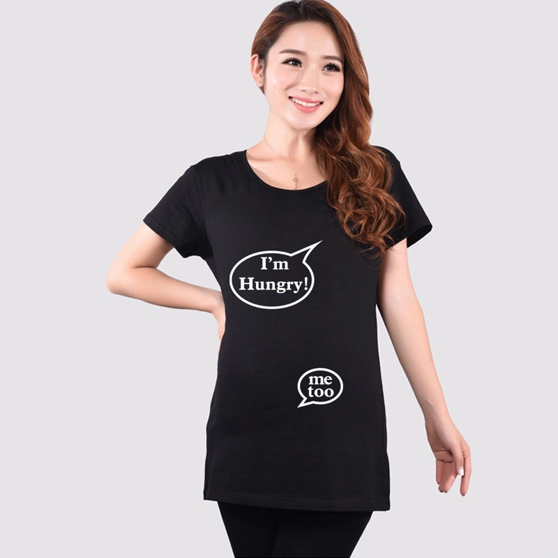 Summer Hot Sale Black Maternity Funny T Shirt Pregnant