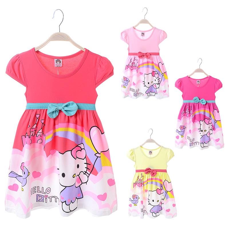 New style 2016 summer girls dress cute short sleeve hello kitty baby girl princess dresses children costumes D449(China (Mainland))