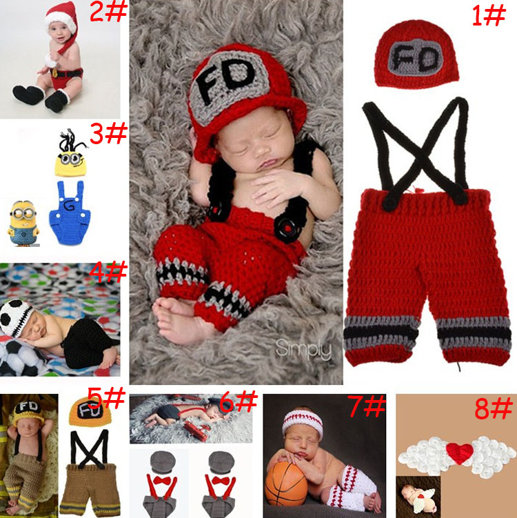 2015 Latest Crochet Newborn Baby Photography Props Crochet Baby Hat Pants Costume Set Outfits 1set MZS-14027(China (Mainland))