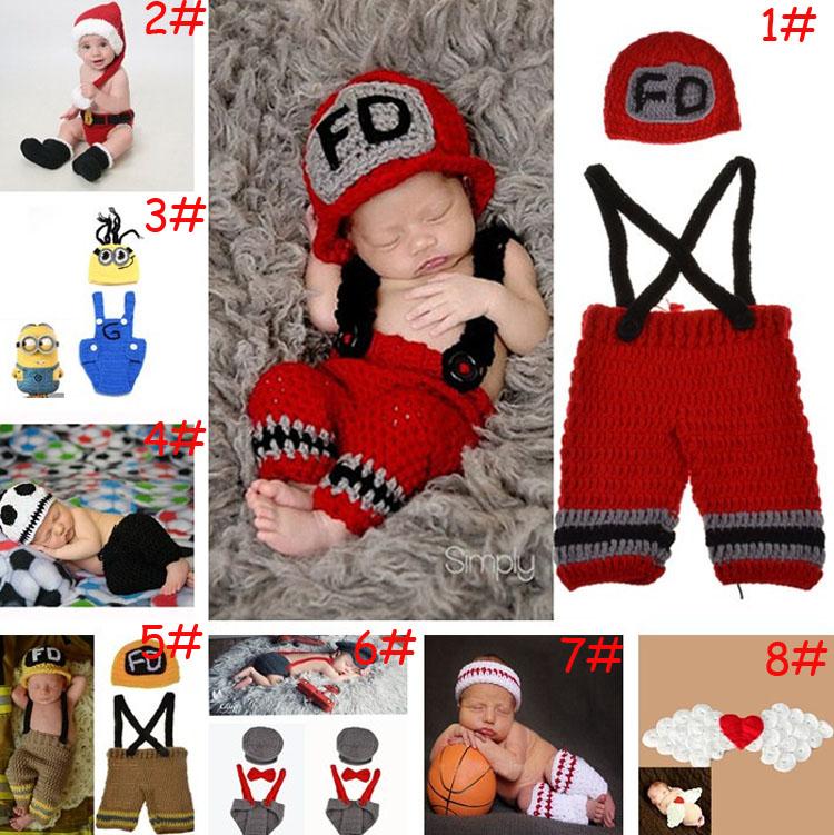 2015 Latest Crochet Newborn Baby Photography Props Crochet Baby Hat Pants Costume Set Outfits 1set MZS-14027(China (Mainland))