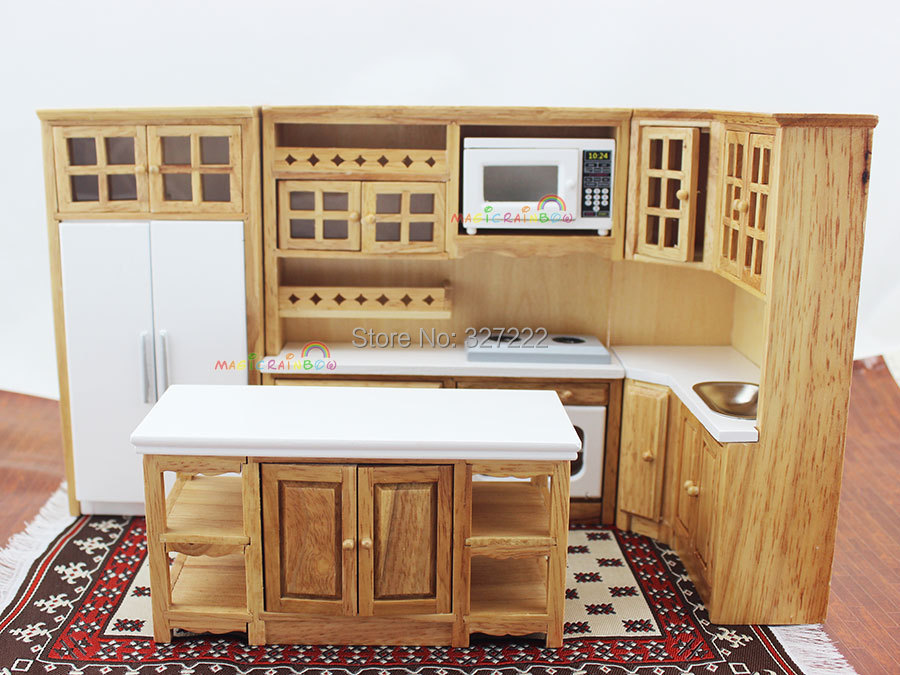 Doll House Kitchen Furniture Wooden Toys Cabinet W Oven
