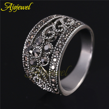 Ajojewel brand 18k white gold plated cute black cz 5 petal flower antique jewelry ring for women